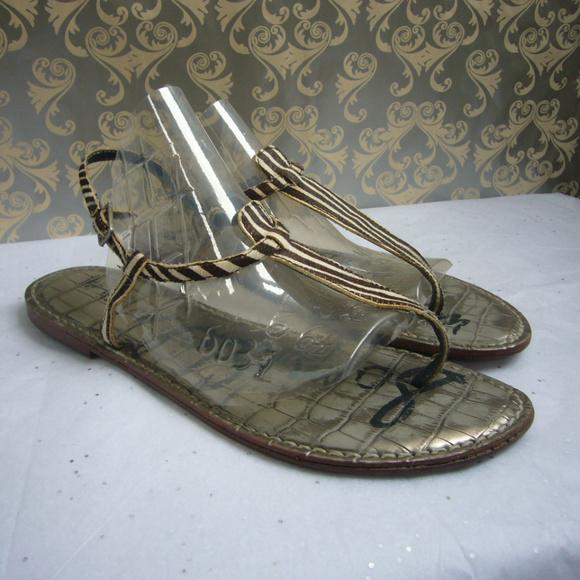 Sam Edelman Shoes - Sam Edelman Gigi Zebra Thong Sandal Brown Wht 8.5